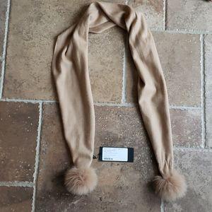 FREE SHIP NWT real fox fur cashmere scarf